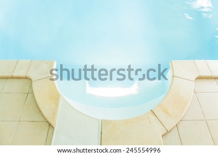 View of swimming pool with clean water - stock photo