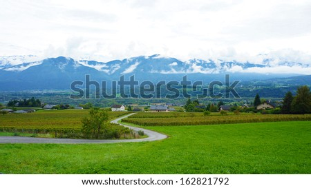 View of Swiss Alps during autumn. - stock photo