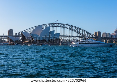 View of  Sydney Opera House And Harbour Bridge  from Mrs macqurie's Chair.NOV 28,2016. Sydney Opera House is modern building, well known worldwide.