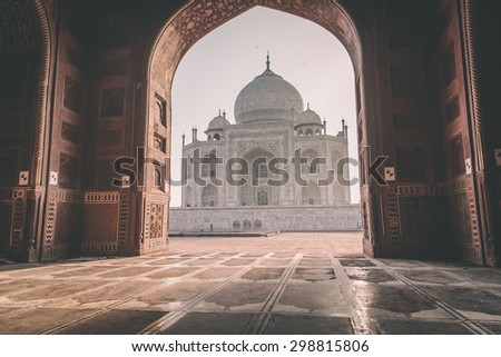 View of Taj Mahal from mosque. West side. Post-processed with grain, texture and colour effect. - stock photo
