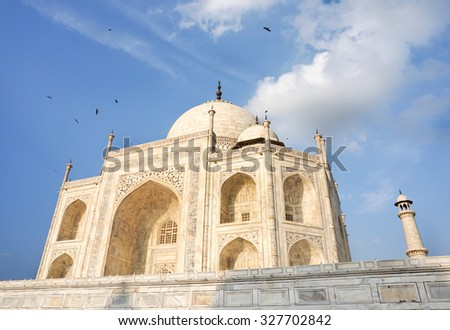 View of Taj Mahal in Agra. Designated a UNESCO World Heritage Site in 1983, the Taj Mahal attracts some 3 million visitors a year.