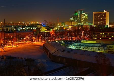 View of Tallinn ai night time. Estonia, Europe - stock photo