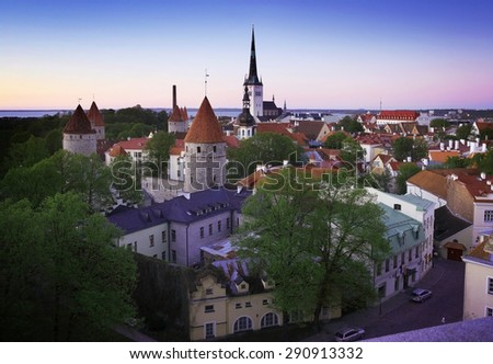 view of Tallinn city in the evening - stock photo