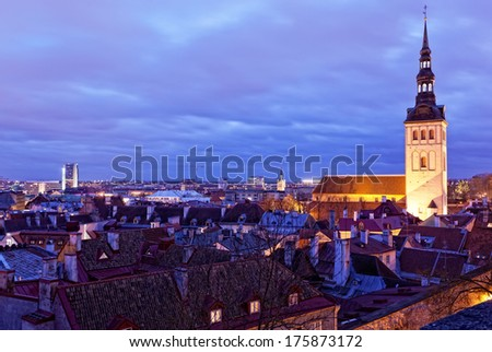 View of Tallinn with evening illumination in winter - stock photo