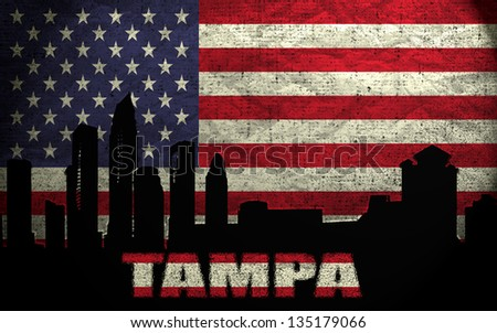 View of Tampa City on the Grunge American Flag - stock photo