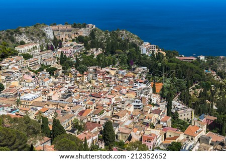 View of Taormina from above, Sicily