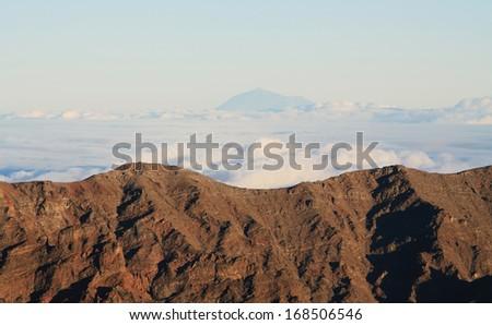 View of Teide peak from El Roque de los muchachos, the higher point in La Palma island - stock photo