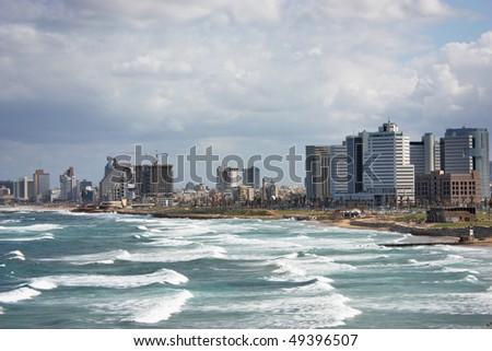 View of Tel Aviv, Mediterranean sea, beach, hotels - stock photo