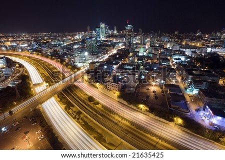View of Tel Aviv Skyline at night.
