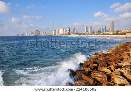 View of Tel Aviv skyline from Jaffa, Israel. - stock photo