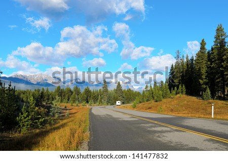 View of Temple mountain from Bow Valley Parkway in Banff National Park Alberta Canada  - stock photo