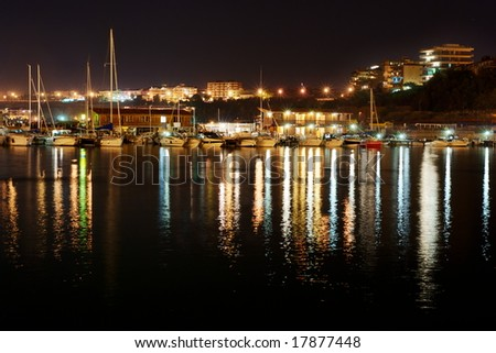 View of Termoli harbor by night (little city on the Adriatic sea in Italy)