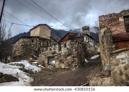 View of the abandoned street in Georgian town called Mestia, in the Upper Caucasus.