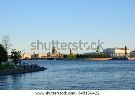 View of the Admiralty, St. Isaac's Cathedral, the arrow with Rostral columns and Naval Museum, Rabbit island and the boat ride on the Neva river