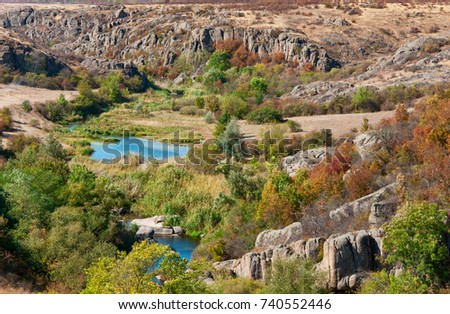 View of the Aktov canyon in the autumn day in Mykolayiv region, Ukraine, national park Bugsky Gard