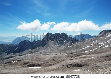 View of the alps from the Zugspitze in Germany - stock photo