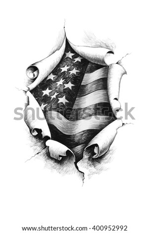 View of the American flag through the big breakthrough in the paper. Pencil illustration.