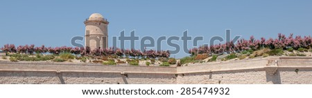 """View of the ancient castle """"Saint Jean"""" in Marseille in South France - stock photo"""