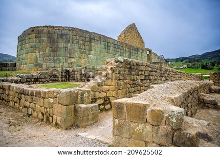 View of the ancient Inca ruins of Ingapirca, Ecuador, on an overcast day  - stock photo