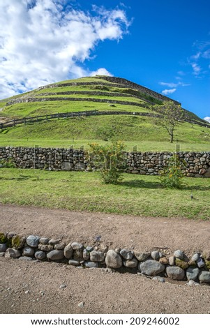 View of the ancient Inca ruins of Pumapungo, Ecuador, on a sunny day - stock photo