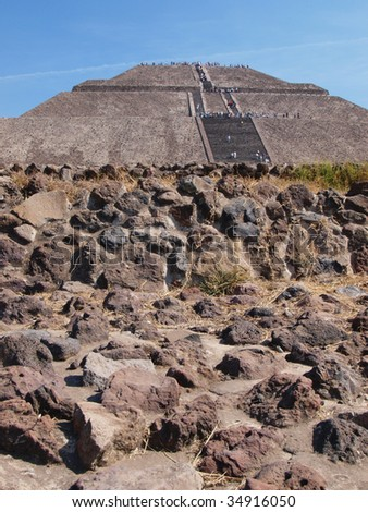 View of the ancient Pyramid of the Sun, Teotihuacan, Mexico. - stock photo