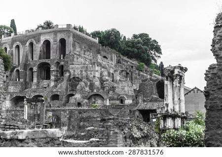 View of the ancient rome ruins near colosseum in black and white, Rome, Italy - stock photo