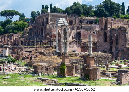 View of the ancient rome ruins near colosseum, Italy - stock photo