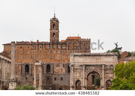 View of the ancient ruin near colosseum, Rome, Italy - stock photo