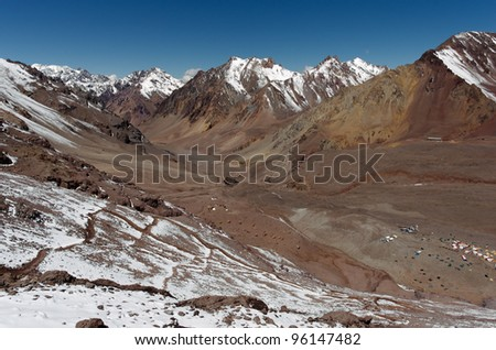 View of the Andes and the valley that is the entrance to Plaza de Mulas base camp. Aconcagua Provincial Park, Mendoza, Argentina, South America.