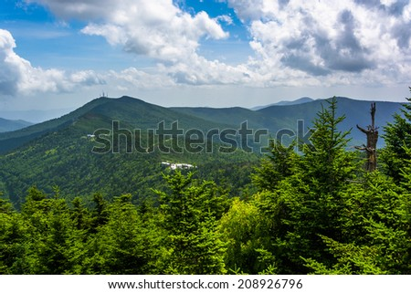View of the Appalachian Mountains from the Observation Tower at Mount Mitchell, North Carolina. - stock photo
