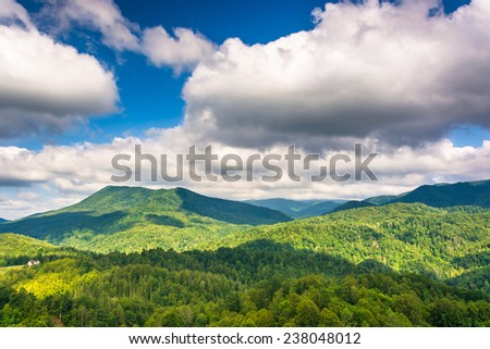 View of the Appalachians from Bald Mountain Ridge scenic overlook along I-26 in Tennessee. - stock photo