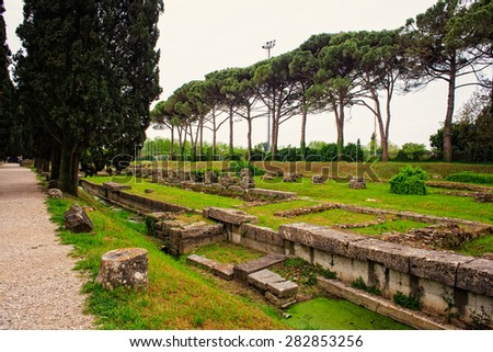 View of the Archeological area of Aquileia in Italy - stock photo