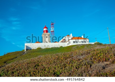 View of the Atlantic coast in Cabo da Roca (Cape Roca) in Western Portugal