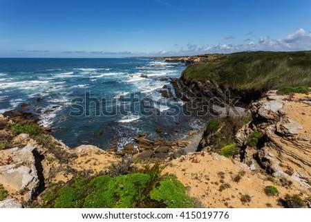 View of the Atlantic sea. Alentejo Portugal. - stock photo