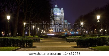 View of the Basilica of the Sacred Heart from Parc Elisabeth in Brussels.