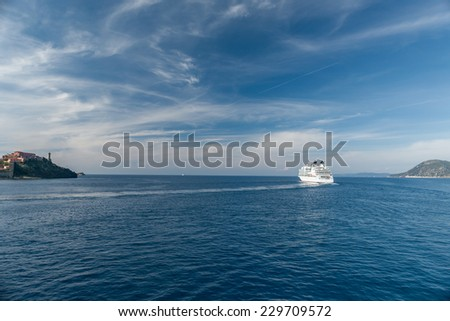 View of the bay near island of Elba, Tuscany, Italy. - stock photo