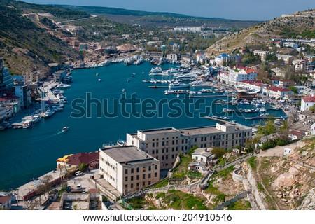 View of the bay of Balaklava in Crimea, Ukraine. - stock photo