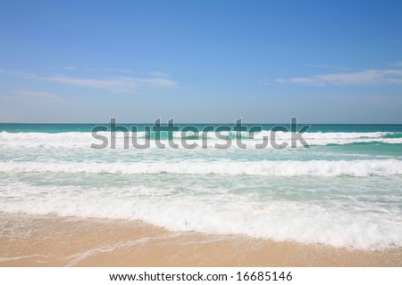 View of the beach and Persian Gulf at Jumeirah, Dubai - stock photo