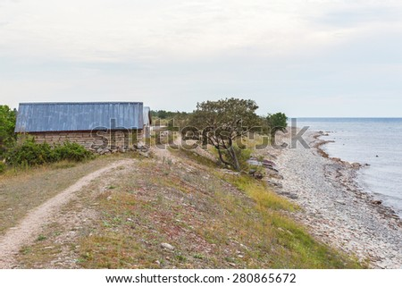View of the beach by the sea - stock photo