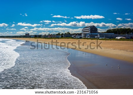 View of the beach from the pier at Old Orchard Beach, Maine.