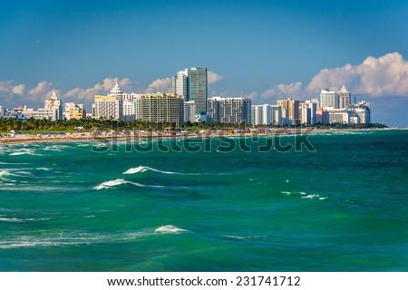View of the beach in Miami Beach, Florida - stock photo