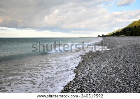 View of the beach in the Gagra, Abkhazia - stock photo