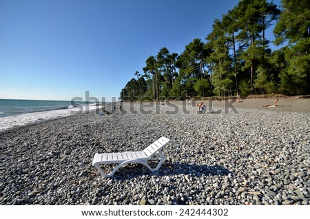 View of the beach in the Picunda, Abkhazia - stock photo
