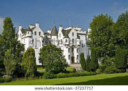View of the beautiful Blair Castle in Scotland - stock photo