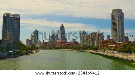 View of the beautiful builings on a riverside of river hai in tianjin.