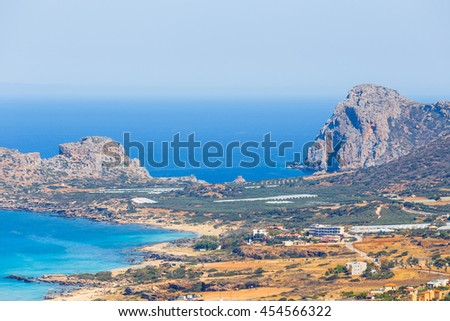 View of the beautiful Falasarna beach on Crete, Greece - stock photo