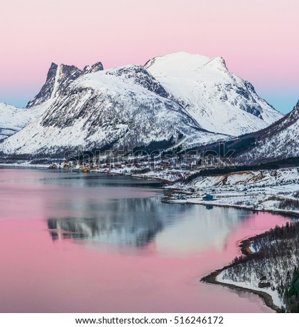 View of the beautiful fjord on Senja island with magical pink light at sunset, Troms county - Norway