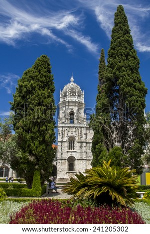 View of the beautiful landmark, Monastery of the Jeronimos located in Lisbon, Portugal.  - stock photo