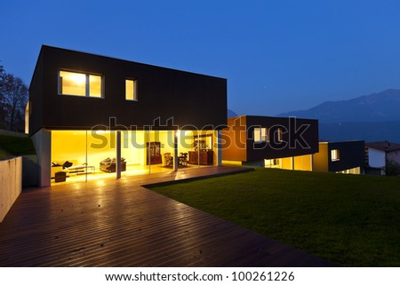 view of the beautiful modern houses, outdoor by night - stock photo
