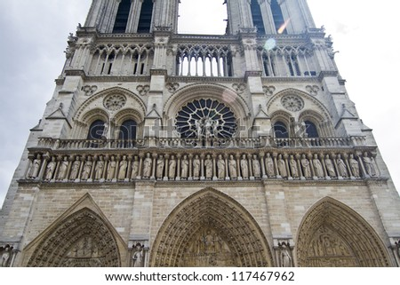 View of the beautiful Notre Dame Cathedral in Paris, France